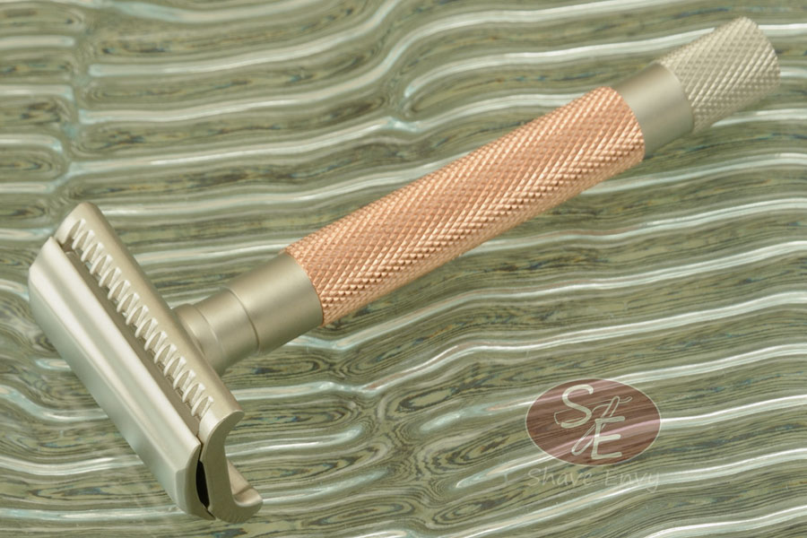 Double Edge Safety Razor - Three Piece Semi Slant - Rose Gold (55SL-RG)